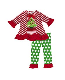 Baby Girls Patterned Legging Set with Christmas Tree Applique
