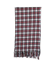 "60"" Brushed Cotton Throw with Fringe Plaid Pattern"