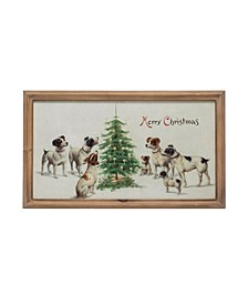 "Vintage-like Reproduction ""Merry Christmas"" Wall Art with Dogs Wood Frame"