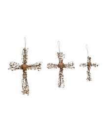 Metal Wire Cross Ornaments with Beads Heart Set of 3 Sizes