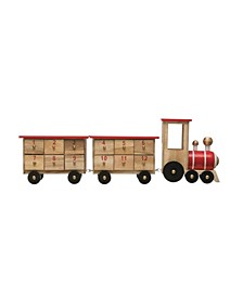 "18"" Wood Train Advent Calendar with 24 Boxes Set of 3"