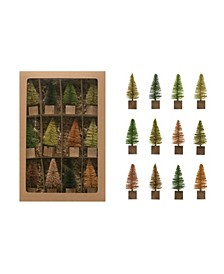 Bottle Brush Tree on Square Wood Base Boxed Set of 12 Pieces