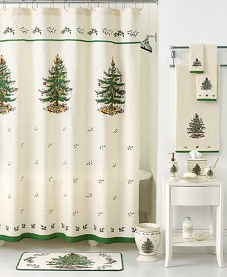 Closeout Spode Bath Accessories Holiday Tree Shower Curtain Shower Curtains Bed Bath