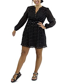 Juniors' Long-Sleeve Polka-Dot Dress