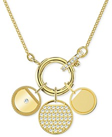 "Gold-Tone Crystal Removable Coin Charm Pendant Necklace, 17-5/8"" + 2"" extender"