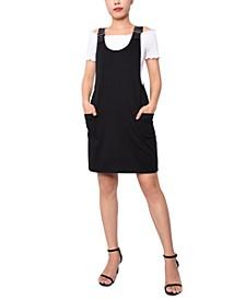 Juniors' Faux-Leather Strap Dress
