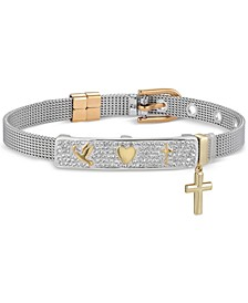 Gratitude & Grace Crystal Dove, Heart, and Cross Mesh Bracelet in Fine Silver-Plate & Gold Flash