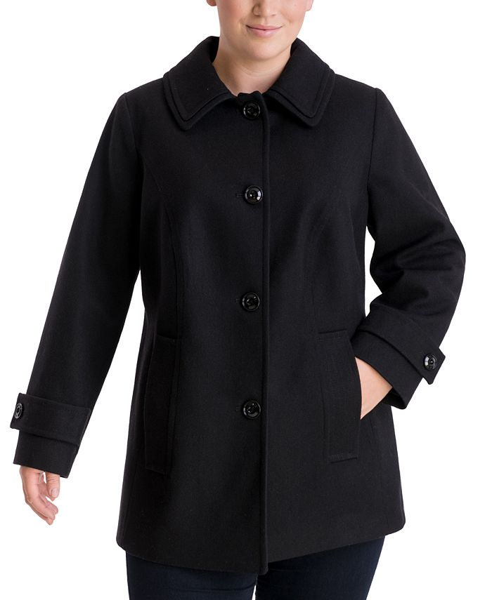 London Fog - Plus Size Single-Breasted Peacoat