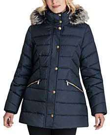 Faux-Fur Trim Hooded Down Puffer Coat