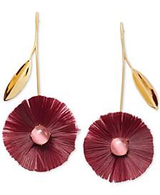 Gold-Tone Stone & Fringe Poppy Drop Earrings