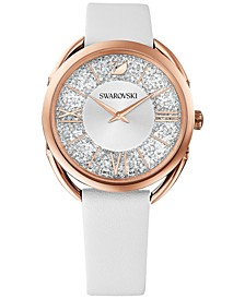 Women's Swiss Crystalline Glam White Leather Strap Watch 35mm