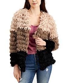 Colorblocked Fringe Faux-Fur Jacket