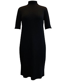 Rib-Knit Mock-Neck Dress, Created for Macy's