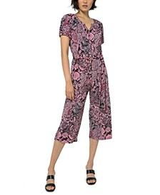 Paisley-Print Cropped Jumpsuit