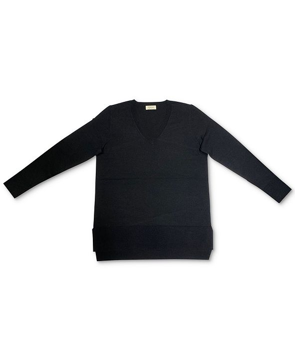 Style & Co V-Neck Band-Hem Sweater, Created for Macy's