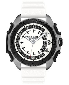 Men's C001 White Rubber Strap Watch 45mm