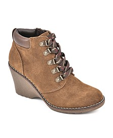 Liberty Regular Lace-Up Wedge Booties