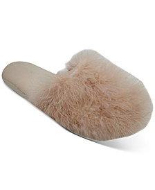 INC Wedge Faux-Marabou Slippers, Created for Macy's