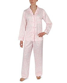 Printed Brushed Satin Pajama Set