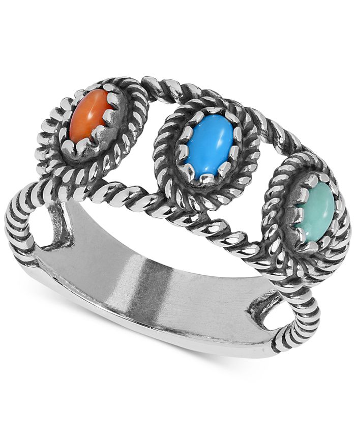American West - Multi-Stone Openwork Rope Statement Ring in Sterling Silver