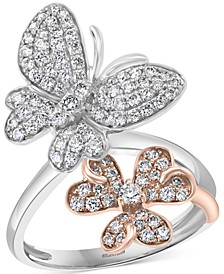 EFFY® Diamond Butterfly & Flower Ring (7/8 ct. t.w.) in 14k Rose & White Gold