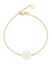 Wren Enamel Initial Gold-Plated Bracelet