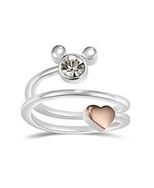Crystal Mickey Mouse Head with Heart Bypass Ring