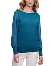Chiffon-Sleeves Sweater