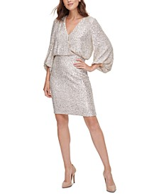 Sequined Blouson Shift Dress