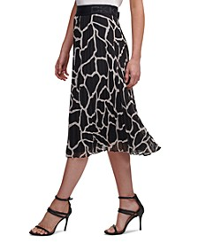 Pleated Animal-Print Midi Skirt