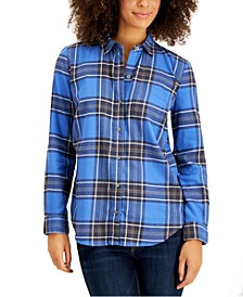 Petite Cotton Flannel Shirt, Created for Macy's