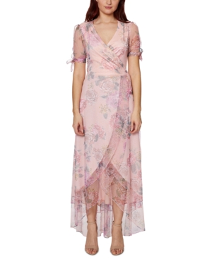 Betsey Johnson FLORAL-PRINT FAUX-WRAP MAXI DRESS
