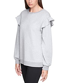 Plus Size Ruffle-Sleeve Sweatshirt