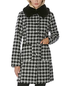 Faux-Fur-Collar Gingham Walker Coat