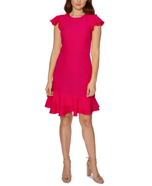 Betsey Johnson RUFFLE-HEM SHEATH DRESS