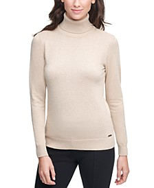 Solid Lurex Turtleneck Sweater