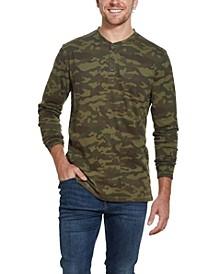 Men's Camo Print Henley T-shirt