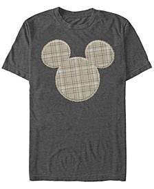 Men's Plaid Patch Mickey Short Sleeve T-Shirt
