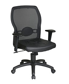 Woven Mesh Back and Leather Office Seat