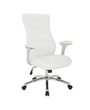 Faux leather goodness in an adjustable office chair with padded chrome arms. Built-in lumbar support with locking tilt control allow customizations to suit your comfort level.