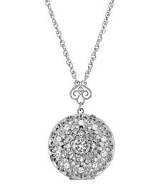 "Silver-Tone Round Crystal Locket 30"" Necklace"