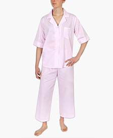 Striped Cotton Capri Pajama Set