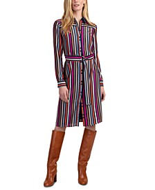 Lamarr Striped Satin Shirtdress