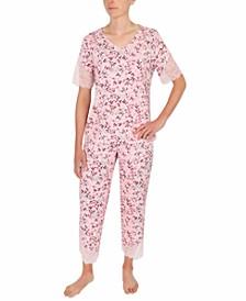 Lace-Trim Capri Pajama Set
