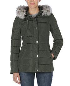 Nautica Faux-Fur Trim Hooded Puffer Coat