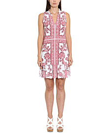 Michael Michael Kors Plus Size Paisley-Print Ruffle-Neck Dress