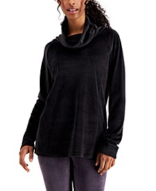 Funnel-Neck Velour Tunic