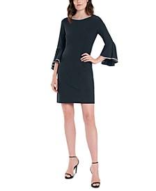 Rhinestone-Trim Bell-Sleeve Dress