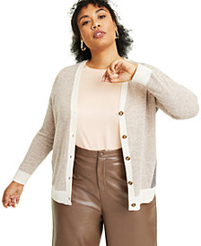 Charter Club Plus Size Colorblocked Cashmere Cardigan Sweater, Created for Macy's