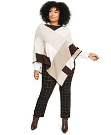 Plus Size Cashmere Colorblocked Poncho, Created for Macy's